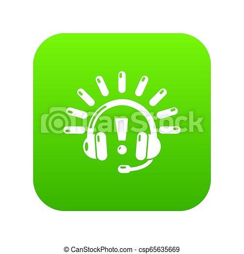 Headphones icon green - csp65635669