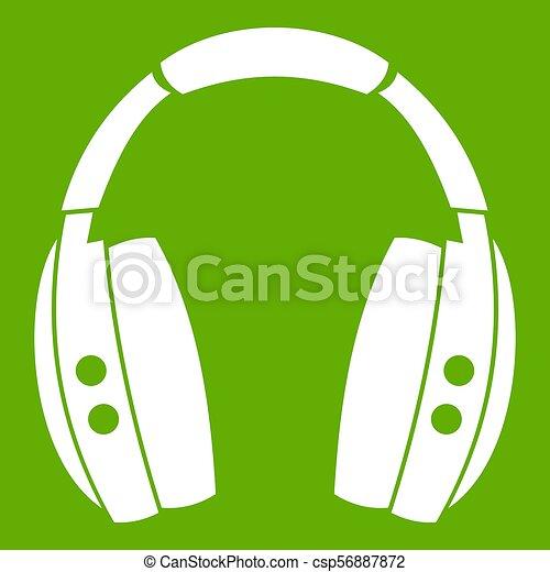 Headphones icon green - csp56887872