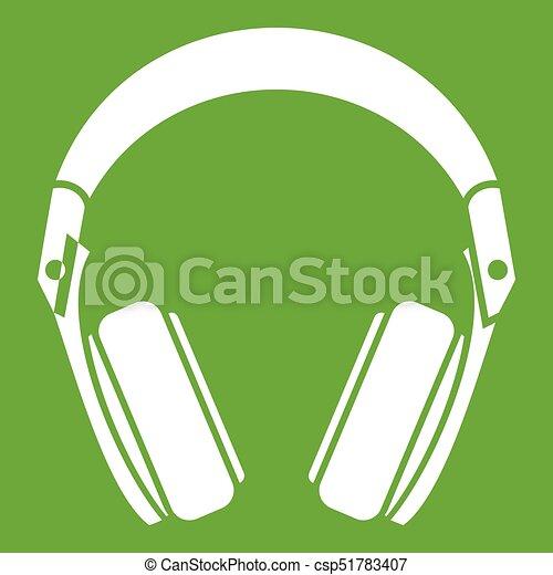 Headphones icon green - csp51783407