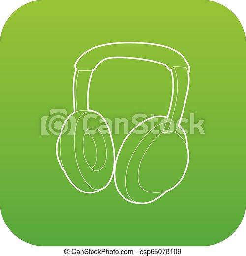 Headphones icon green vector - csp65078109