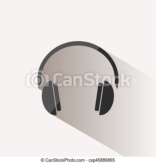 Headphones icon on a beige background with shade - csp45886865