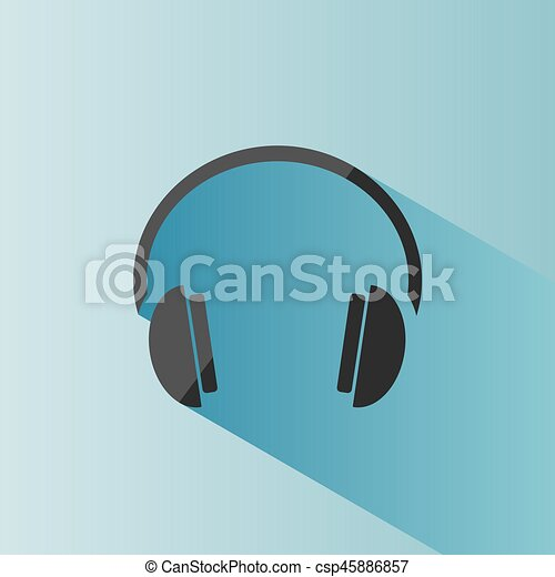 Headphones icon on a blue background with shade - csp45886857