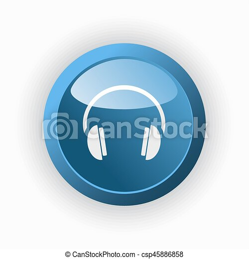Headphones icon on a blue button and white background - csp45886858
