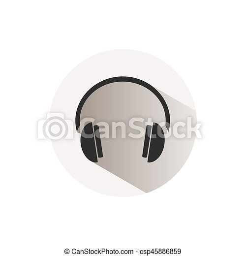 Headphones icon on a button and white background - csp45886859