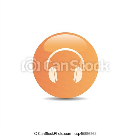 Headphones icon on a orange button and white background - csp45886862