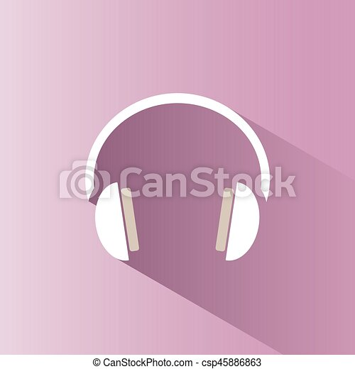 Headphones icon on a pink background with shade - csp45886863