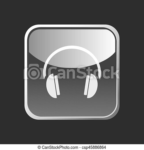 Headphones icon on a square button on dark background - csp45886864
