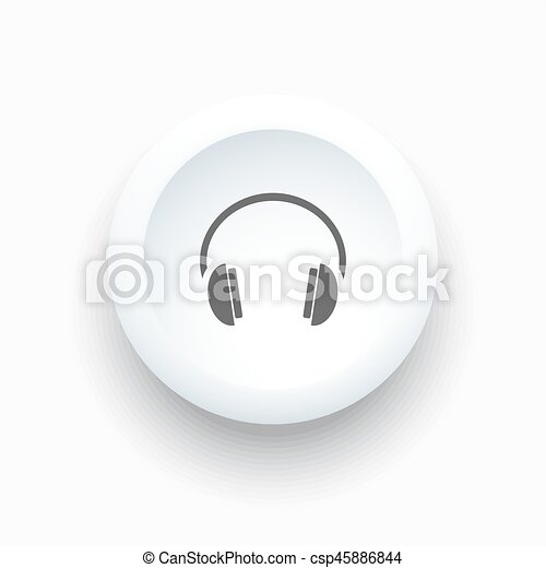 Headphones icon on a white button and white background - csp45886844