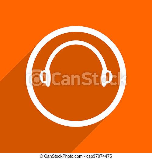headphones icon. Orange flat button. Web and mobile app design illustration - csp37074475