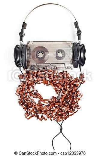 Headphones on Compact Cassette - csp12033978
