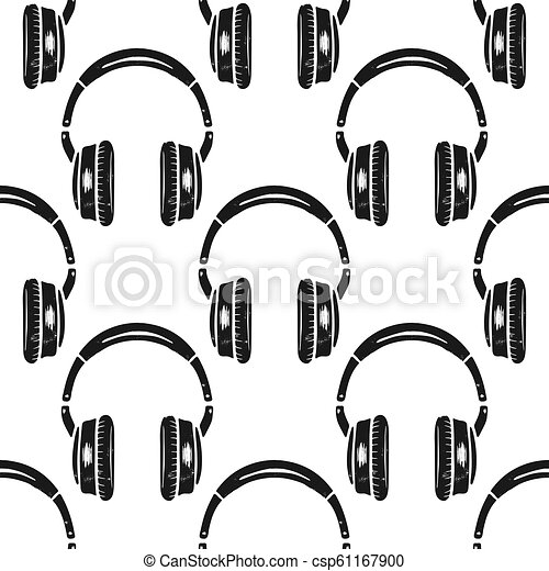 Headphones Seamless Pattern Music Symbol Silhouette Distressed Style Musical Wallpaper Background Stock Vector Isolated