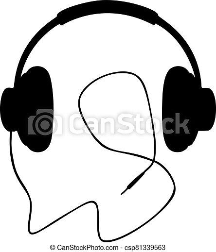 Headphones vector illustration on white background - csp81339563