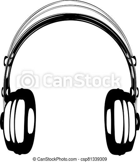 Headphones vector illustration on white background - csp81339309