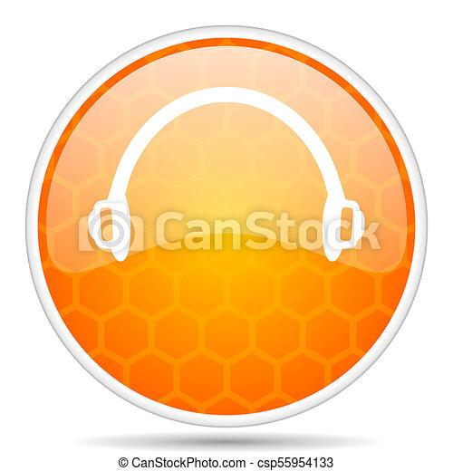 Headphones web icon. Round orange glossy internet button for webdesign. - csp55954133