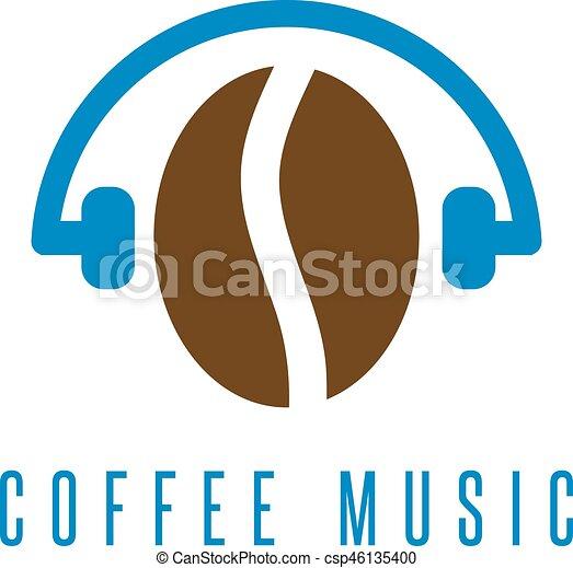Headphones With Coffee Bean Vector Design Template