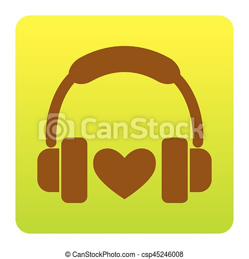Headphones with heart. Vector. Brown icon at green-yellow gradient square with rounded corners on white background. Isolated. - csp45246008