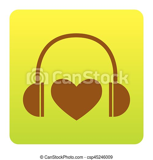 Headphones with heart. Vector. Brown icon at green-yellow gradient square with rounded corners on white background. Isolated. - csp45246009