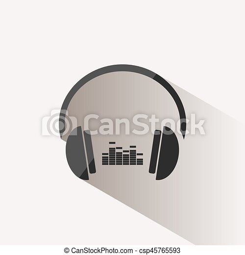 Headphones with music icon on beige background and shadow - csp45765593
