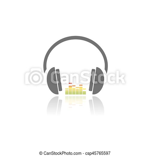 Headphones with music icon on white background and reflection - csp45765597