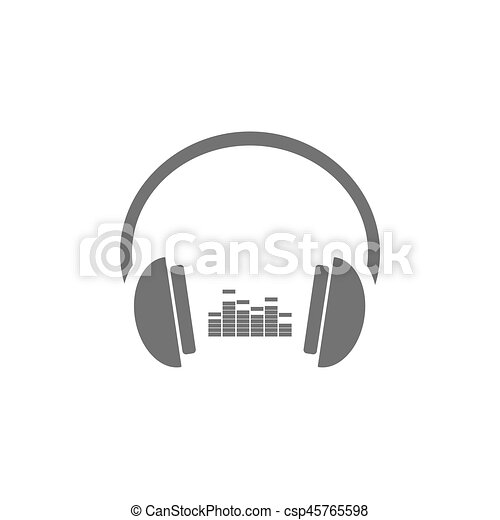 Headphones with music icon on white background - csp45765598