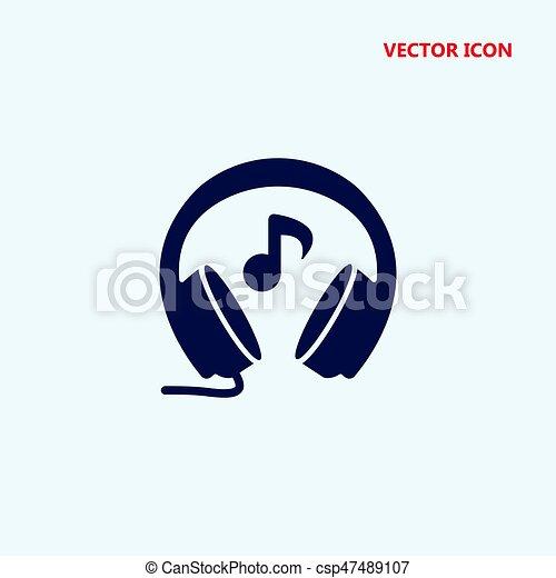headphones with music note vector icon - csp47489107