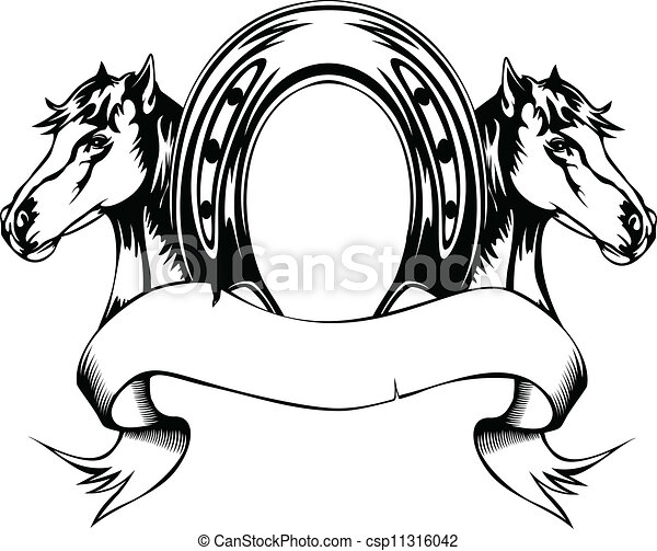 heads horses and horse shoe - csp11316042