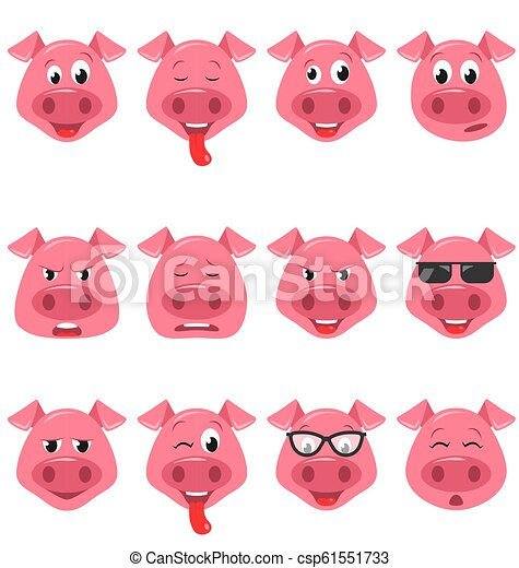 Heads of Cool Funny Pig Emoticon Characters, Happy, Cool, Angry, Tired  Emotions  Set Avatars