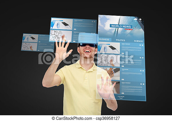 headset, óculos, realidade virtual, homem, 3d, ou, feliz - csp36958127
