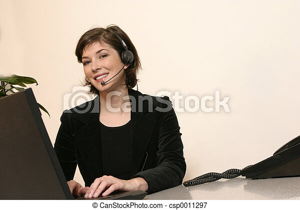 Headset and Woman - csp0011297