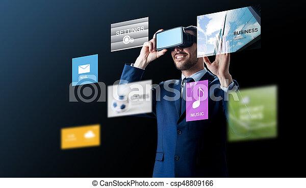 headset, sobre, realidade virtual, pretas, homem negócios - csp48809166