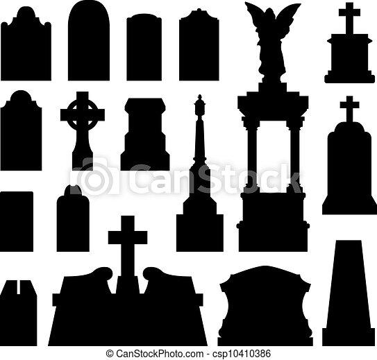 Headstone and gravestone silhouette - csp10410386