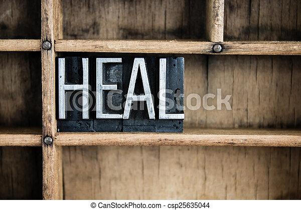 Heal Concept Metal Letterpress Word in Drawer - csp25635044