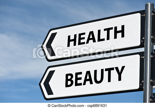 health and beauty sign post - csp6891631