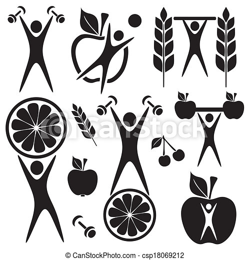 Health And Fitness Art Clipart Vector Illustration