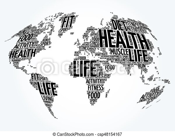 Health and life world map in typography sport health clip art health and life world map in typography csp48154167 gumiabroncs Image collections