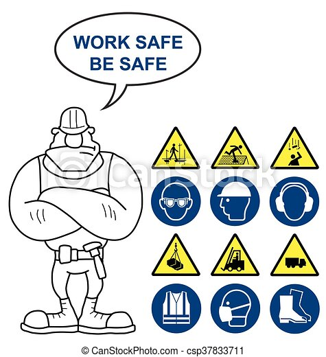 Health And Safety And Hazard Signs Mandatory Construction