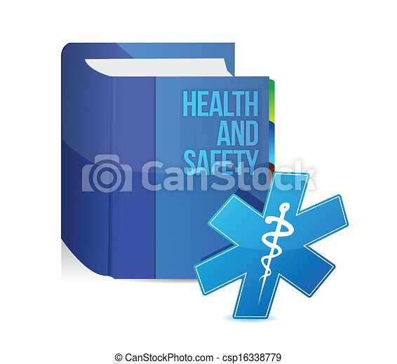 health and safety medical book illustration design - csp16338779