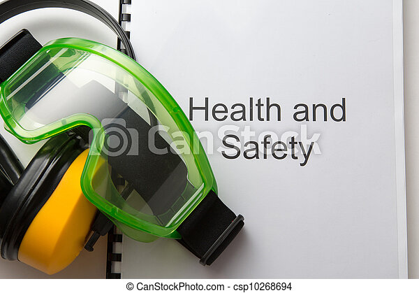 Health and safety register with goggles and earphones - csp10268694