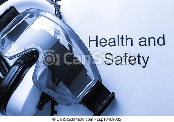 Health and safety register with goggles and earphones - csp10469002