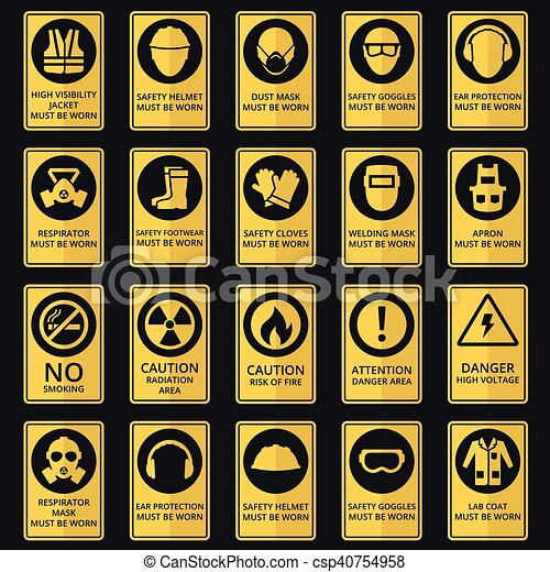 Health and safety signs. Equipment must be worn - csp40754958