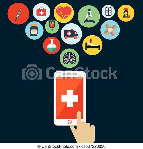 Health application on a smartphone  Open with hand cursor  Vector icon
