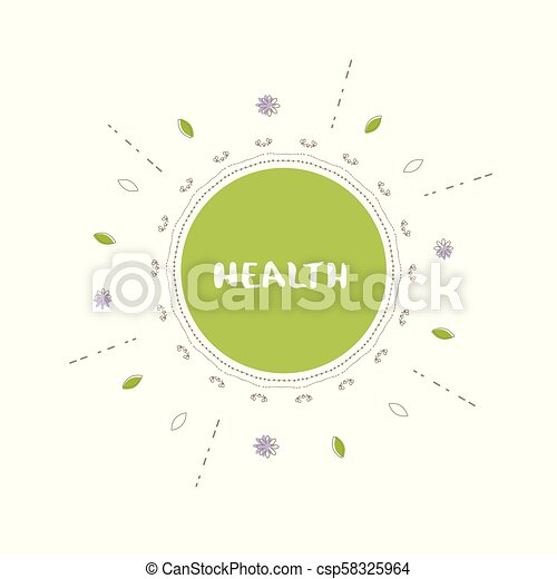 Health Banner Vector Illustration Health Round Banner With Random Decorative Shapes Handwritten Lettering Isolated On White Background Element For Graphic Design Poster Flyer Tag Menu Vector