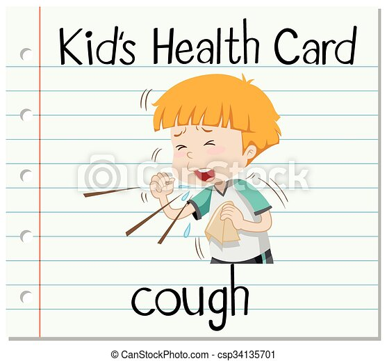 Health card with boy coughing - csp34135701