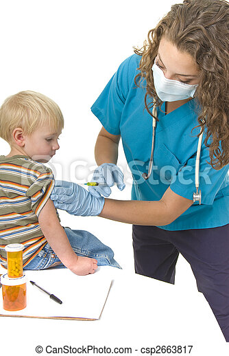 Health care professional gives injection to toddler - csp2663817