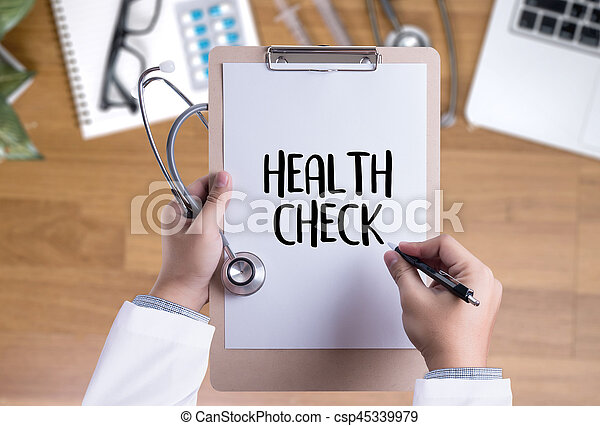 HEALTH CHECK Medicine doctor working with computer interface as medical - csp45339979