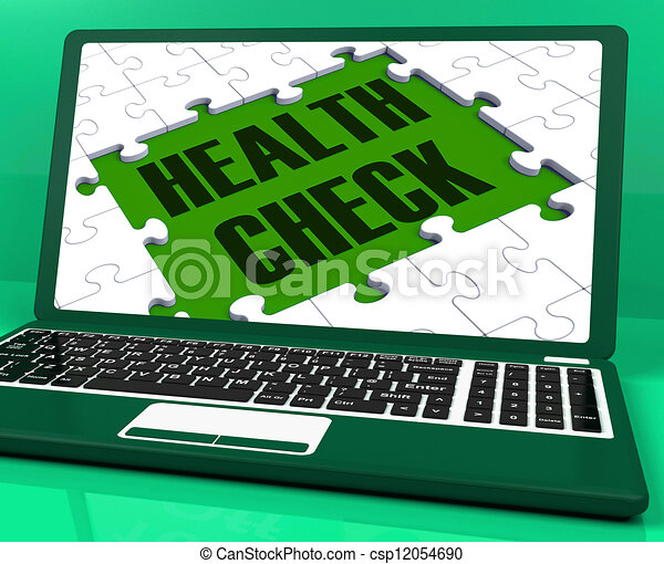 Health Check On Laptop Showing Medical Exams - csp12054690