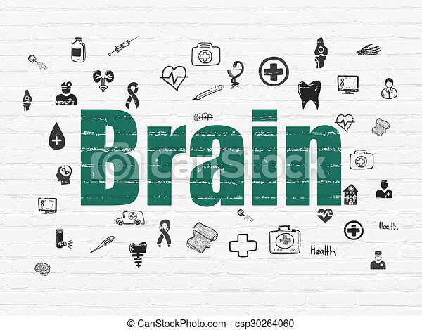 Health concept: Brain on wall background - csp30264060