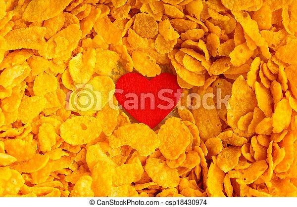 Health diet concept, healthy breakfast. Love corn flakes background - csp18430974