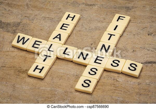 health, fitness and wellness crossword - csp87566690