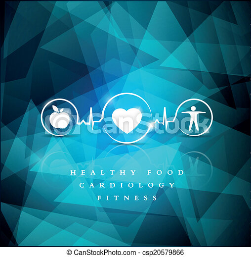 Health icons on a bright blue geometric background - csp20579866